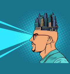 man and city skyscrapers urban planner or vector image