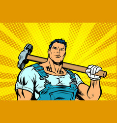 man with a hammer vector image