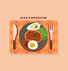 meat and vegetables graphic of a vector image