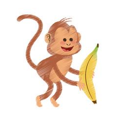 Monkey cartoon icon image vector