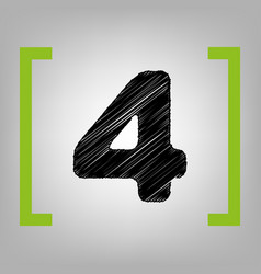 number 4 sign design template element vector image
