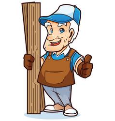 old handyman mascot vector image