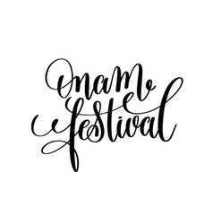 Onam festival hand lettering calligraphy holiday vector