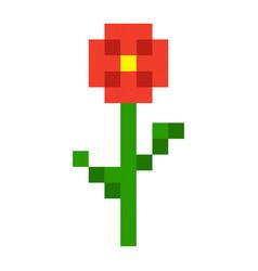 pixel flowers art cartoon retro game style vector image