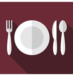 Plate fork knife spoon vector