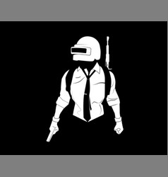 Pubg player black and white vector