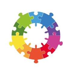 puzzle circle jigsaw game figure icon vector image