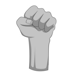 raised up clenched male fist icon monochrome vector image