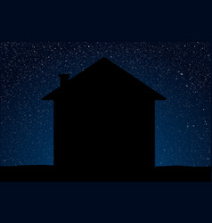 realistic starry sky blue glow silhouette home vector image