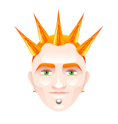 Red-haired man with punk hairstyle isolated on vector