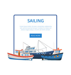 sailing poster with group of fishing boats vector image