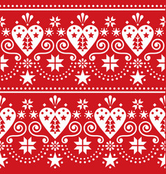 scandinavian christmas folk art seamless pattern vector image