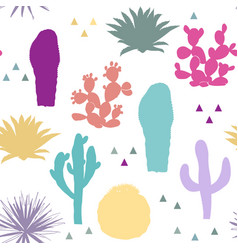 Seamless pattern with cactus plants vector