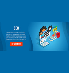 Seo concept banner isometric style vector