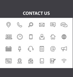 set 24 contact us web icons in line style web vector image