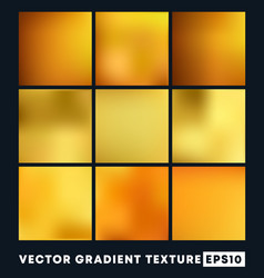 Set gold gradient texture pattern background vector