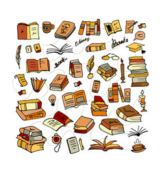 Set of books sketch for your design vector