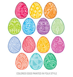 set of isolated happy easter eggs vector image