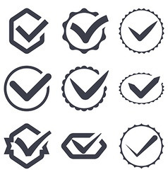 Set of nine different check marks vector image