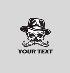 Skull mustache in hat logo vector