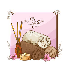spa elementa in hand drawn style sketch design vector image