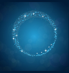 sparkles frame abstract on blue background vector image