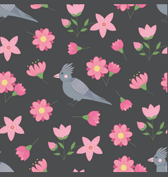 spring seamless pattern with flowers and birds vector image