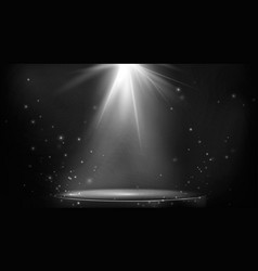 Stage spot lighting empty floodlit podium on dark vector
