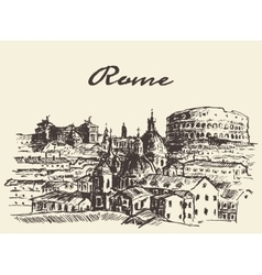 Street Rome Italy drawn sketch vector