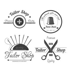 Tailor shop logo for dressmaker atelier and vector