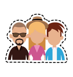 three people cartoon icon imag vector image