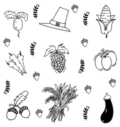 Vegetable in doodle Thanksgiving vector image