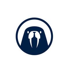 walrus round circle emblem logo icon vector image