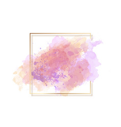 Watercolour background with gold border vector