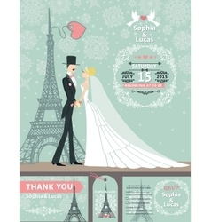 Wedding invitation cardsBridegroomParis Winter vector