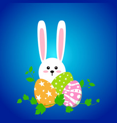 white easter rabbit with eggs funny bunny in flat vector image