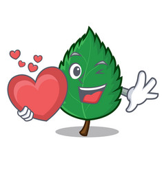 With heart mint leaves mascot cartoon vector