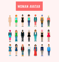 woman avatar set vector image