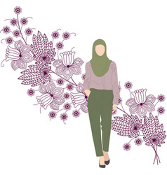 Woman in headscarf and office clothes vector