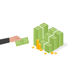 businessman hand holds a stack of green dollars vector image vector image