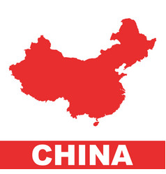 china map colorful red on white background vector image vector image