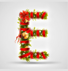 christmas font letter e of christmas tree vector image