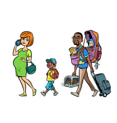 multi ethnic family travelers mom dad and kids vector image