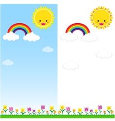 Sun Rainbow and Cloud 001 vector image