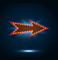 Arrow sign with light bulbs on blue background vector