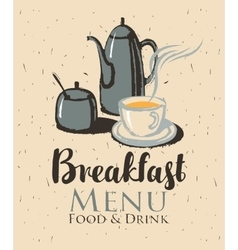 breakfast with a teapot and cup of tea vector image vector image