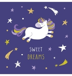 Cartoon unicorn on the night sky with glitter vector image vector image