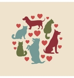 Cats and dogs silhouette round composition vector image