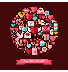 Flat Style Happy Valentine Day Objects Concept vector image