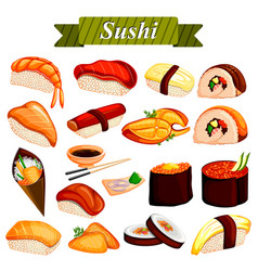 full collection of different variety of sushi roll vector image vector image
